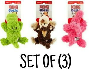 KONG Cozies - SET OF (3) Plush SOFT Dog Toys Alligator, Monkey & Elephant SQUEAK