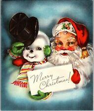 Santa Claus St. Nick Frosty the Snowman Snowmen Bell VTG Christmas Greeting Card