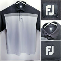 FootJoy FJ Mens XL Golf Shirt Polo Gray Black Polyester