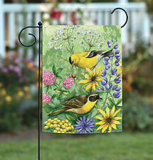 Toland Floral Finches 12.5 x 18 Colorful Spring Flower Bird Garden Flag