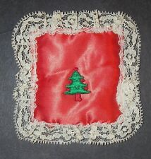 """Vintage Sachet Pin Cushion Handmade Red Lace 3 1/2"""" Christmas Tree Made in USA"""