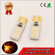 4X Amber COB LED T10 3W Bulb DC12V Canbus No Error Cars xenon Auto Led Car 3000K