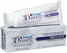 3 NEW CREST 3D WHITE BRILLIANCE WHITE TEETH WHITENING TOOTHPASTE 4.1oz FULL SIZE