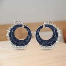 Circular Motif 785 Blue Sapphires Gemstone In Pavé Setting Fashion Women Earring