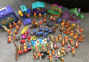 Winnie The Pooh Disney Figures Plastic toy Lot 75+ pc.House Train Lunch Box Toys