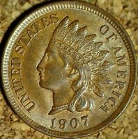 1907 Indian Head Cent - BEAUTIFUL AU++, AS SHOWN (K471)