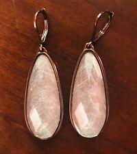 Purple Stone Earrings W/ Bronze, Long ~Very Well Made~