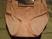 Kathy Ireland 2 Pair Panties With Lace Detail Blush, Black Plus Size 3X New