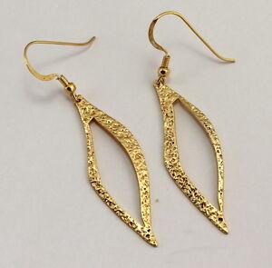 Earrings Gold Plated 925 Silver Leaf Shape Gift Ladies Earrings ca.2 9/32in Long