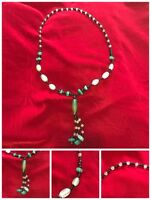 """Green Black Triple Drop Strands Strands Glass? Heavy Beaded Necklace 29"""" Opening"""