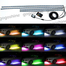 4pcs RGB LED Under Car Tube Strip Underglow Body Neon Light Wireless Remote US