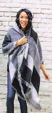 DSW Black Gray Blanket Wrap Poncho Checked NEW Shawl