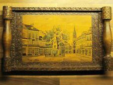 "French Pyro Art ""Odon"" Wood Tray Frame by Jean Claude Boli"