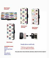 Mini Cooper British Car leather phone wallet case for Samsung Iphone