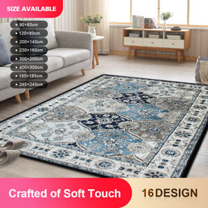 #75 Large Blue Rectangle Floor Area Soft Traditional Rug Rugs Carpet 300x200cm