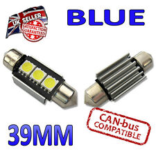 2 x Blue Canbus LED 39mm Festoon Bright Interior Plate Lights C5W 3 SMD Bulbs