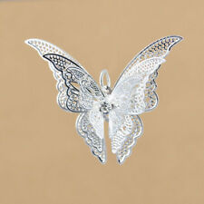 Women's Fashion Shiny Silver Plated Hollow Butterfly Necklace DIY Pendant Gift