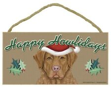 "Happy Howlidays Chesapeake Bay Retriever Christmas Dog Sign 5""x10"" Plaque 330"