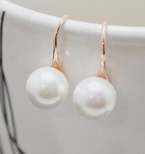 8 mm de agua dulce perla Oro Rosa Laminado En Plata Esterlina 925 gancho cuelgan aretes