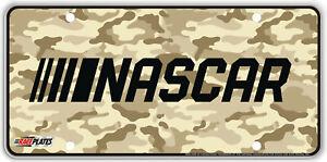 NASCAR Logo over Camouflage Background Souvenir License Plate