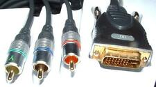 DVI-I  analogue to 3 Phono RGB cable 20M video lead gold