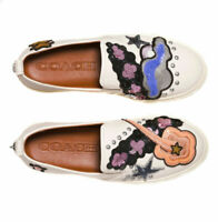 Coach Women's Sz. 5.5B Leather Shoes Sneakers Chalk Star Sequins Star Patches