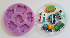 CHILDRENS VEHICLES CARS TRUCK BUS TAXI SILICONE MOULD FOR CAKE TOPPERS  ET