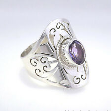 Amethyst and Sterling Silver Ring, Size M (US = 6.5)