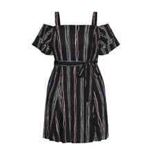 City Chic Black and Pink Striped Cold Shoulder Romance Short Dress Size Small 16