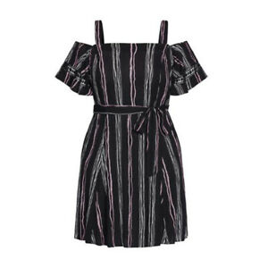 CITY CHIC Womens Romance Stripe Dress Size S 16 Black Cold Shoulder BNWT