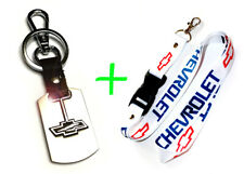 2 in 1 Combo CHEVROLET CHEVY White Lanyard and Stainless Steel Key Chain