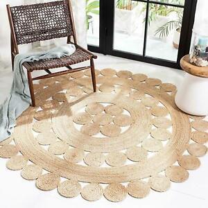 Rug 100% Natural Jute Bohemian Hemp Carpet 5x5 Feet Area Floor Living Room Rug