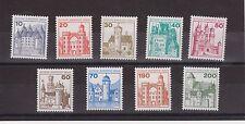 DEUTSCHE BUNDESPOST BERLIN GERMANY MNH SET OF 9 CASTLES 1977 ISSUE