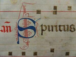BIG GOTHIC MANUSCRIPT ANTIPHONARY PARCHMENT LEAF ITALY 1350 GREGORIAN CHANT