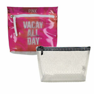 Victoria's Secret Pink Cosmetic Bag Makeup Case Zip Travel Storage New Nwt Vs