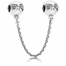 Authentic Pandora Charm Bead#Dainty Bow Clear CZ Safety Chain 791780CZ