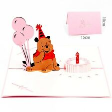 3D Pop Up Greeting Card Bear Happy Birthday Mother's day Thanks Gift Invitations
