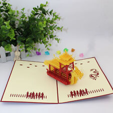 3D Sculpture China Boat Dragon Wedding Invitation Cards Paper Gift LG