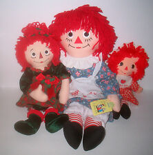 3 Raggedy Ann Cloth Stuffed Dolls