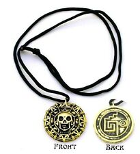 Pirates of the Caribbean Coin Medallion Replica Skull Gold Color Metal Necklace