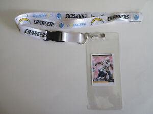 L.A. CHARGERS WHITE LANYARD & TICKET HOLDER PLUS  COLLECTIBLE PLAYER CARD