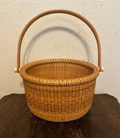 Vintage Signed Nantucker Pine Needle Straw Basket w Wood Handle - Larry Brewster