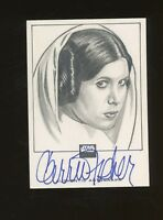 TOPPS Star Wars GALAXY SKETCH SKETCHAGRAPH SEAN PENCE CARRIE FISHER AUTO