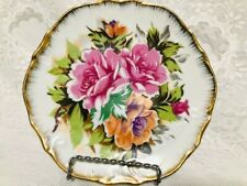 TWO  VINTAGE HANDPAINTED FLORAL PLATES BY SALLY MADE IN JAPAN