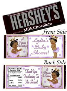12 Ethnic Princess Baby Shower Birthday Party Hershey Bar Wrappers Purple Gold