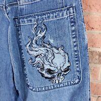 Jnco 85 Jeans 34x32 Flaming Skull Baggy Deep Pocket Skater Grunge Rave Distress