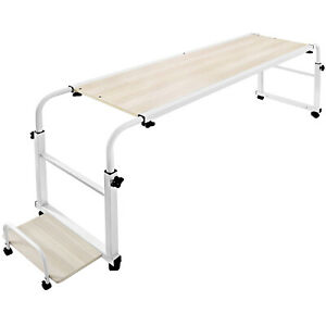 Portable Over Bed Laptop Trolley Hospital Table Office Computer Desk Dinner Tray