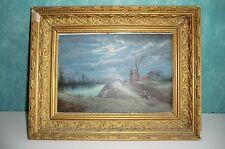 XIXème HUILE SUR PANNEAU BOIS. signée à identifier, datée 1883. paysage, moulin.