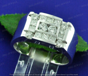 Mens Solid 14K White Gold Finish 3Ct Diamonds Vintage Engagement Band Pinky Ring