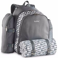 VonShef 4 Person Picnic Backpack Bag with Blanket and 29 Piece Dining Set - Grey